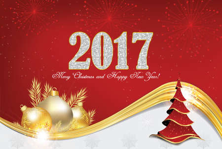 Elegant 2017 Christmas and New Year greeting card with Christmas decorations (Christmas baubles and Christmas tree, fireworks). Print colors used. Size of a custom postcard