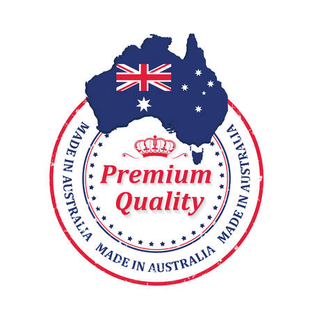 Made in Australia, Premium Quality - grunge stamp  label  sticker with the national map and flag. Print colors used for textile industry