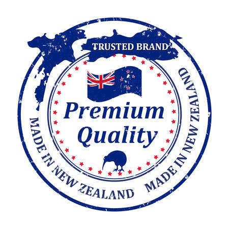 Made in New Zealand, Trusted Brand, Premium quality because we care - grunge business stamp with the map and flag of New Zealand. Illustration