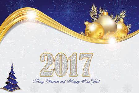 Elegante 2017 Kerstmis en Nieuwjaar wenskaart met kerstversiering (Kerstballen en de kerstboom, vuurwerk). Print kleuren gebruikt. Grootte van een douanebriefkaart