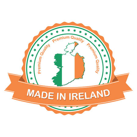 irish map: Made in Ireland, Premium quality - business  stamp  label  sticker with the national map and Irish flag, suitable for commerce  retail industry. Print colors used