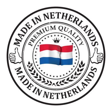 Made in Netherlands, Premium Quality -business commerce grunge stamp ribbon with the Dutch flag on the background. Suitable for retail industry. Print colors used