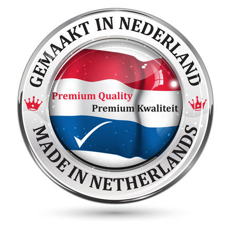nederland: Made in Netherlands, Premium Quality (English and Dutch language: Gemaakt in Nederland, Premium Kwaliteit) shiny icon with the dutch flag in the background. Illustration