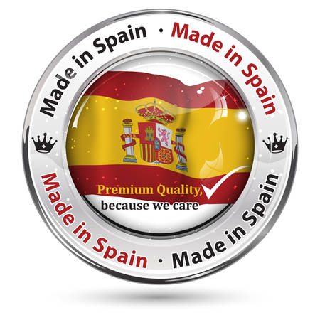 shiny icon: Made in Spain; Premium Quality, because we care - business commerce shiny icon with the Spanish flag on the background. Suitable for retail industry.
