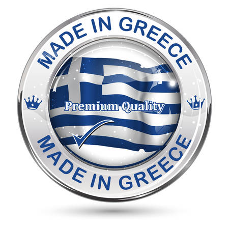 Made in Greece, Premium Quality - business commerce shiny icon with the Greek flag on the background. Suitable for retail industry.