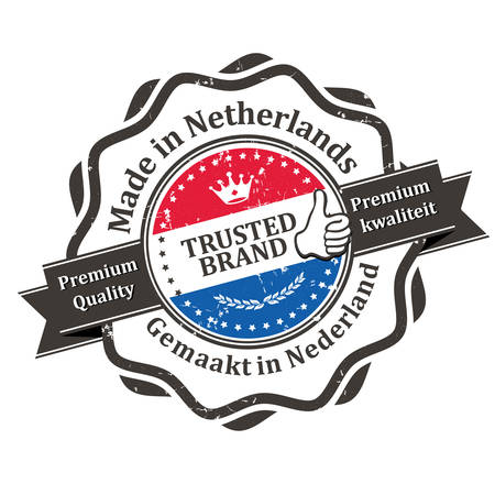 dutch: Made in Netherlands, Premium Quality (text written in English and Dutch languages), Trusted brand - business grunge stamp ribbon with the Dutch flag colors. Print colors used.