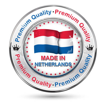 shiny icon: Made in Netherlands, Premium Quality - business commerce shiny icon with the dutch flag in the background. Suitable for retail industry.