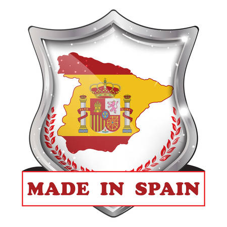 shiny icon: Made in Spain - business commerce shiny icon with the Spanish flag and map on the background. Suitable for retail industry.