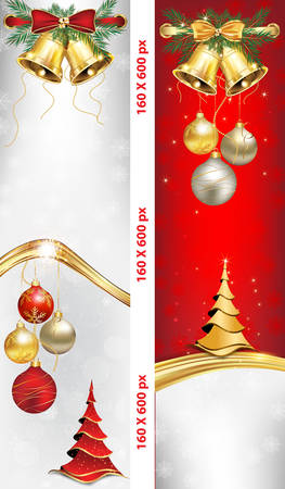 jingle bells: Skyscraper web Banner set for Christmas and New Year. Contains Christmas baubles, Christmas tree, Jingle bells and celebration decoration elements. Illustration