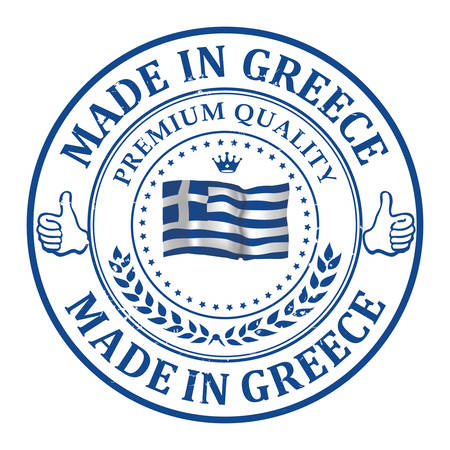 made in greece stamp: Made in Greece, Premium Quality - stamp with the flag of Greece. Print colors used