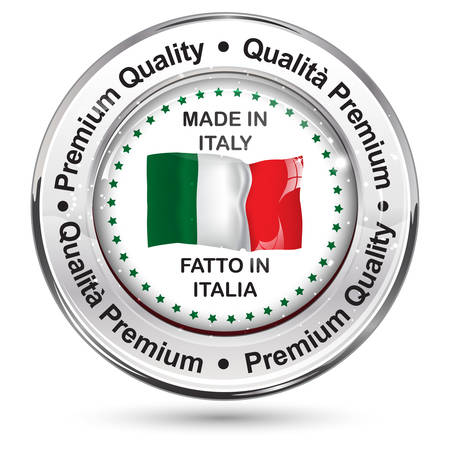 commerce and industry: Made in Italy (Italian language: Fatto in Italia); Premium Quality, because we care - business commerce shiny icon with the Italian flag on the background. Suitable for retail industry.