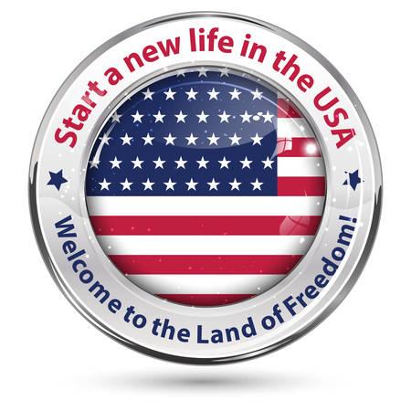 Emigrar en EE.UU. icono, Iniciar una nueva vida en los EE.UU., Bienvenido a la tierra de la libertad - etiqueta brillante. Foto de archivo - 66962633