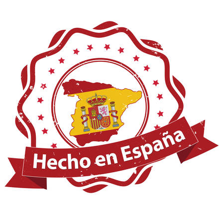 Made in Spain (Text in Spanish language: Hecho en Espana) Grunge label  sticker - Made in Spain, with Spanish national flag colors and map. CMYK colors used.