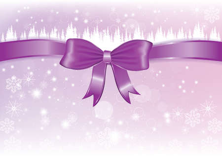 own: Purple winter background with ribbon. Copy-space for your own text. Stock Photo