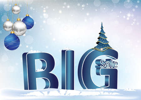 big sale 3d text winter holiday blue background with christmas and new year decorations