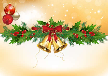 Winter background with Christmas decorations: mistletoe, Christmas baubles, jingle bells. Format A3. Copy-space for your own text. Stock Photo