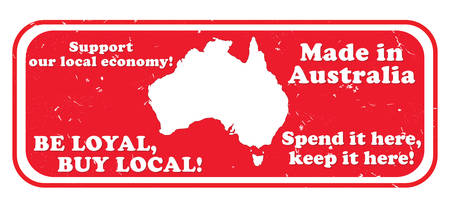 faithful: Made in Australia. Be loyal, buy local. Spend it here, keep it here - grunge stamp  label for Australian local businesses. Print colors used