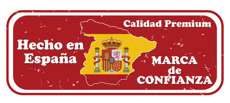commerce and industry: Made in Spain, Trusted Brand, Premium Quality stamp in Spanish language (text: Hecho in Espana, Marca de Confianza, Calidad Premium). Print colors used. Suitable for retail  commerce industry Illustration