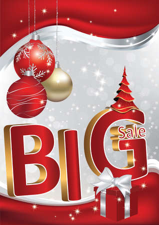 Winter big sales poster for print. Contains 3D text: big sale, present box (gifts), Christmas baubles. Format A3. Print colors used.