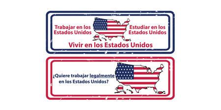en: Work, study and live legally in United States (Spanish language: Trabajar, Estudiar Vivir en los Estados Unidos) grunge set of labels  stamps. Print colors used Illustration