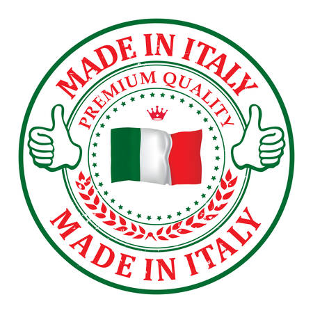 italia: Made in Italy, Premium Quality (text written Italian language - Fatto in Italia) business grunge stamp with the Italian flag colors. Suitable for retail industry. Print colors (CMYK) used.