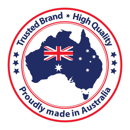 trusted: Proudly made in Australia, Trusted Brand, High Quality stamp  sticker  label with the national flag and the Australian map,