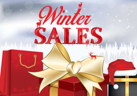 Winter sales poster with gift boxes, shopping bags and Santas hat on a winter background. Contains 3D text. Format A3. Stock Photo