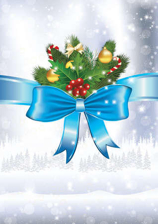 Winter background with trees, holly berries and blue ribbon. Print colors used