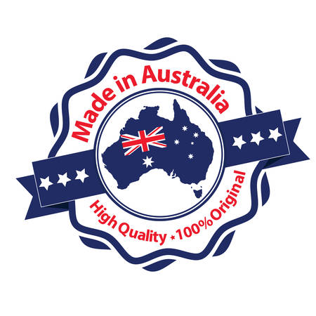 Made in Australia, High Quality, 100% original - label  stamp  badge with the Australian map and flag on the background Illustration