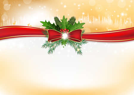 Elegant winter holidays background with holly berries, pine fires, shiny ribbon. Contains space for your own text. Format A3