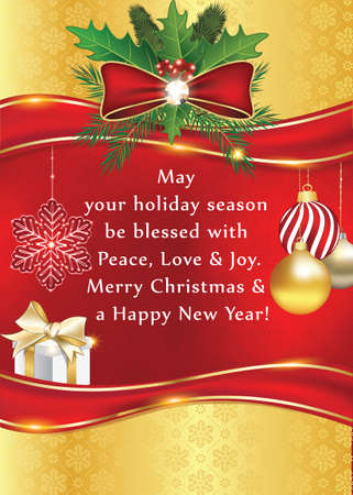 Warm new year and christmas greeting card for your colleagues stock photo warm new year and christmas greeting card for your colleagues family and friends contains gift box holly berry christmas baubles m4hsunfo