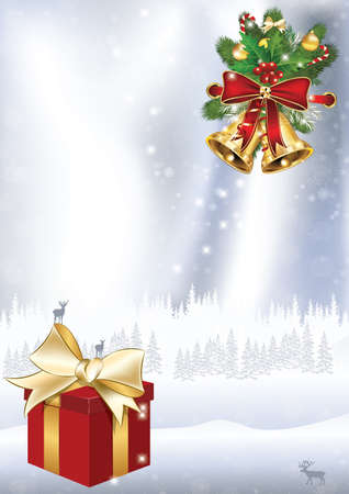 Elegant winter holidays background with holly berries, pine fires, shiny ribbon, gift box, stars. Contains space for your own text. Format A3