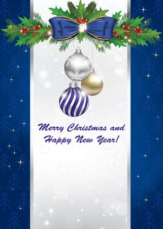 blue christmas and new year greeting card with space for your own text contains wrapping