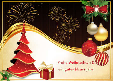 Greeting card for Christmas and New Year containing wishes in German language (Frohe Weihnachten und ein gutes Neues Jahr - Merry Christmas and a Happy New Year). Print colors used.