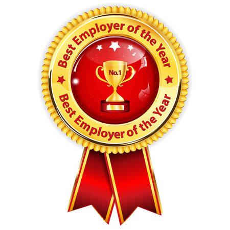 Best Employer of the Year - business award ribbon. Golden red colors distinction with champions cup.