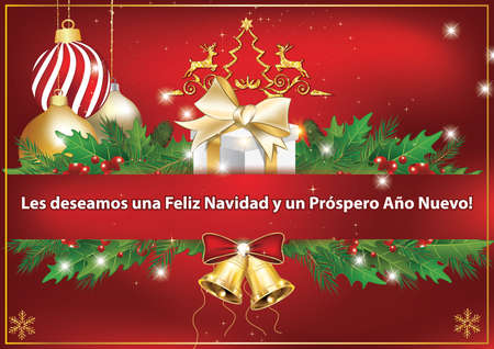 business spanish greeting car we wish you merry christmas and happy new year - Merry Christmas And Happy New Year In Spanish