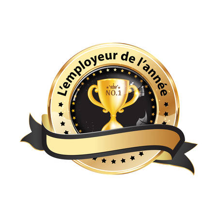 Best Employer of the year (French language: Lemployeur de lannee) - business elegant icon  ribbon award distinction for companies.
