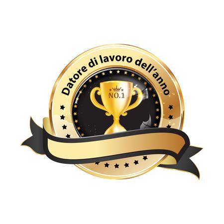 Employer of the year in Italian language: Datore di lavoro dellanno -  business elegant icon  ribbon award distinction for companies.