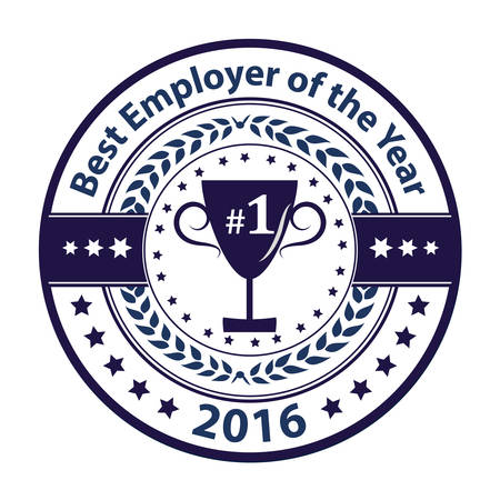 distinction: Best Employer of the year 2016 - business award label  stamp. Blue color distinction with champions cup. Print colors used Illustration