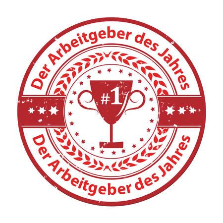 distinction: The Employer of the year (German language: Der Arbeitgeber des Jahres) - grunge business distinction award stamp for German companies