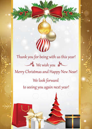 Thank you business christmas and new year greeting card for 68960096 business card for winter holidays thank you for being with us this year merry christmas and happy new year we look forward to seeing you reheart Choice Image