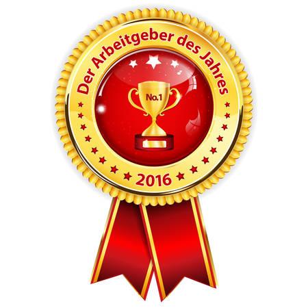 distinction: Best Employer of the year (German language: Der Arbeitgeber des Jahres) - business elegant icon  ribbon award distinction for companies.