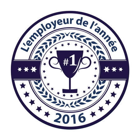 distinction: Best Employer of the year (French language: Lemployeur de lannee)  -  grunge business distinction award stamp for French companies