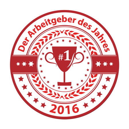distinction: The Employer of the year 2016 (German language: Der Arbeitgeber des Jahres 2016) - grunge business distinction award stamp for German companies Illustration