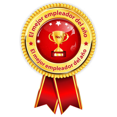 employers: Best employer of the year - Spanish language (El Mejor empleador del ano) - business elegant icon  ribbon award distinction for companies.