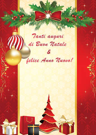 felice: We wish you Merry Christmas and Happy New Year - Italian language: Tanti auguri di Buon Natale & felice Anno Nuovo -elegant  greeting card for winter holiday. Print colors used. Custom size Stock Photo