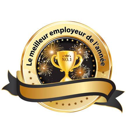 distinction: Best Employer of the year (French language:  Le meilleur employeur de lannee) - business elegant icon  ribbon award distinction for companies.