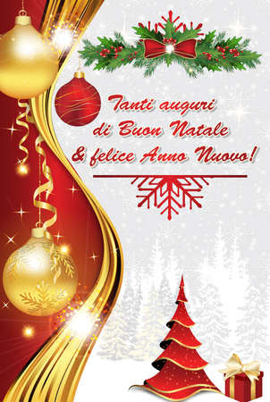 stock photo we wish you merry christmas and happy new year italian language tanti auguri di buon natale felice anno nuovo elegant greeting card for