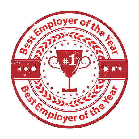 distinction: Best Employer of the year - business award label  stamp. Red color distinction with champions cup. Print colors used