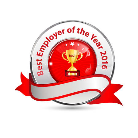 distinction: Best Employer of the Year 2016 - business award ribbon. Metallic red colors distinction with champions cup. Illustration